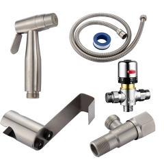 Tecmolog Douchette WC Inox Douchette Toilette Douchette Bidet 2 Jet Kit Hygiene WC Bidet Spray avec ,Thermostatique